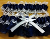 Navy Blue and white Handcuffs Police Themed Wedding Garter set