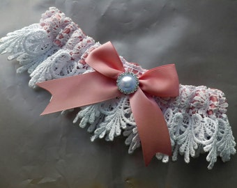 Wedding Garter , with peach Ribbon and Venice Lace