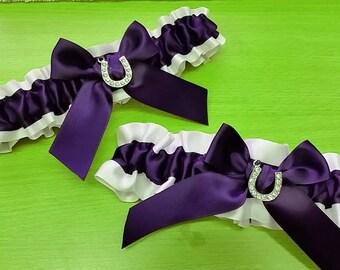 Wedding Garter SET , beautiful  plum purple and white or ivory lucky horse shoe themed garter set