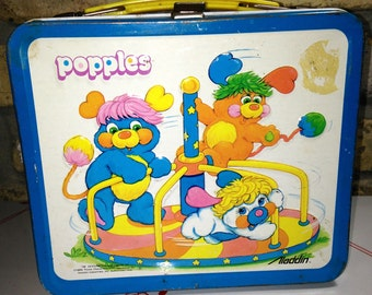 1986 Aladdin Those characters Popples toys metal lunch box lunchbox RAD