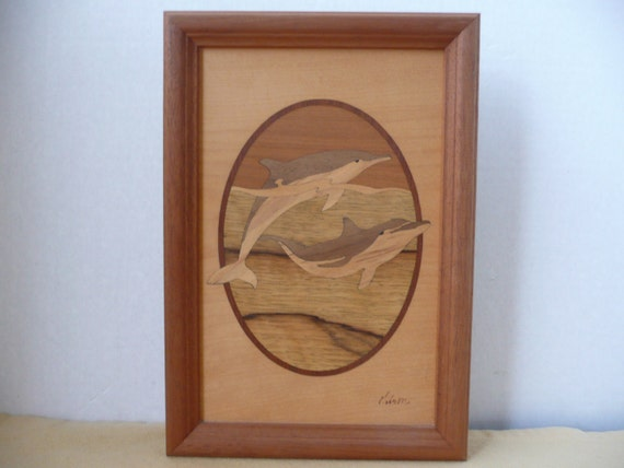 Dolphin Wood Inlays : Gorgeous handmade inlaid wood picture of two dolphins