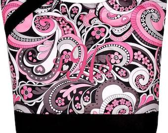 PERSONALIZED Large Black, White & Pink Paisley Diaper Bag Shopper Tote