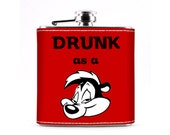 Drunk as a Skunk Leather Flask