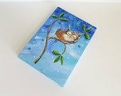 Sleeping Owl with Snail, Owl Painting, Woodland Art Original, Night Time 5x7