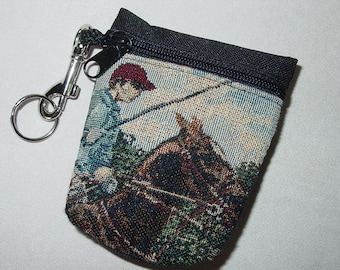 Polo Horse and Rider Tapestry  Belt Pack/Key Chain Combo