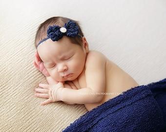 Navy baby headband,  infant headband, newborn headband, navy bow headband, photo prop, navy blue baby headband