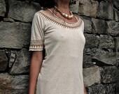 Native American Organic Hemp cotton T- shirt  in Cream with ASO free print Tribal eco friendly made by AnuttaraCrafts