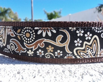 """Dog Collar 1"""" wide Quick Release or Martingale collar style Espresso - see 1.5"""" link within"""