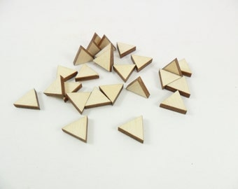 "25 Triangles 1/2"" x 1/2"" x 1/8"" Unfinished Laser Cut Wood Equilateral Triangle Stud Earring Shapes"