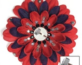 Thor's Hammer Mjolnir Red and Navy Penny Blossom Rhinestone Flower Barrette