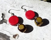 Red and Yellow Wood and Seed Earrings - Brown and Yellow Seed Jewelry -- Bohemian Earrings - Natural Jewelry