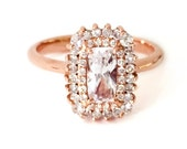 """The """"Odeon"""" Petite - White Sapphire and Diamond Cushion Cut Ring - Engagement - Art Deco, Art Nouveau - Custom made - rose/yellow/white gold"""