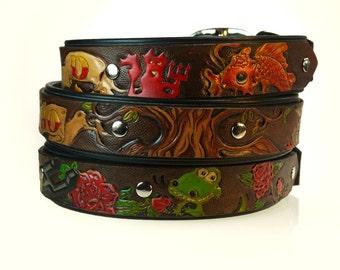 Custom Tooled Leather Collar - Personalized Dog Collars - Unique Dog Collar - Engraved Name Dog Collar - Handmade Dog Collar - Customizable