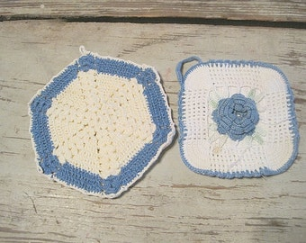 Two Blue and White Crochet Hot Pads
