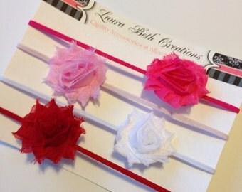 Valentines Set of 4 Mini Shabby Chic Rose Headband Set - Infant Headband - Newborn Headband - Children's Headband - Girls Headband Set