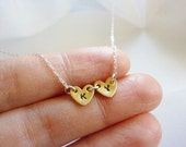 Double Heart Initial Necklace-Initial Necklace With Two Tiny Brass Hearts-Side By Side Heart Necklace-Gold Tiny Initial Necklace-Momentusny