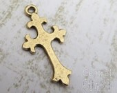 Fleur de Lis Rustic Hammered Pewter Cross Charm Pendant - Antique Bronze Gold (2) 25mm x 14mm - Old World - French - Central Coast Charms