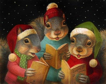 Christmas Squirrel Print - Singing Squirrels - Christmas Caroling Squirrels