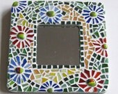 Mosaic & Fused Glass Mirror with Flowers
