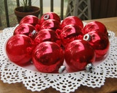 12 Shiny Brite and Made in USA Red Ornaments - Vintage Christmas Decor - Oak Hill Vintage