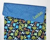 CHOOSE YOUR COLORS Personalized Dinosaurs Double Minky Blanket or Lovey