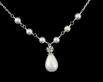 Bridal Necklace, Bridal Pearl Necklace, Wedding Necklace, Wedding Jewelry, Swarovski Pearls Necklace , Bridal, Bridesmaid Jewelry