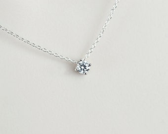 Cubic Zirconia Solitaire Necklace, Sterling Silver Necklace, Modern, Minimalist Everyday Jewelry, Bridal Jewelry