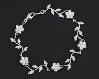 Bridal Bracelet, Cubic Zirconia Flower and Branch Tree Bracelet, CZ Floral Bridal Jewelry, Bridal Bridesmaids Necklace, CZ Wedding Jewelry