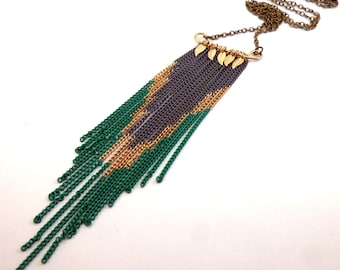 Chain Fringe Chevron Bib Necklace with Golden Leaves