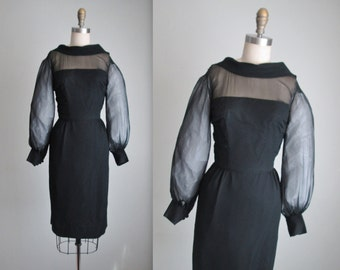50's Cocktail Dress // Vintage 1950's Black Chiffon Illusion Wiggle Cocktail Party Dress XS