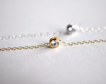 Floating Solitaire Diamond CZ Necklace, 14KT Gold Filled, Sterling Silver