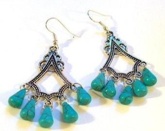 Chandelier Earrings, Genuine Turquoise Howlite Tear Drops Chandelier Dangle Earrings, Turquoise Earrings