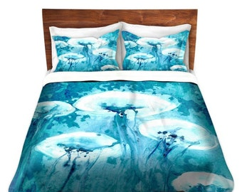Duvet Set Jellyfish Painting - Nature Modern Bedding - Queen Size Duvet Cover - King Size Duvet Cover