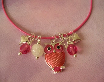 Girl Owl Necklace, Glow in the Dark, Charms, Beads, Pink