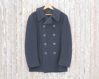 Vintage WW2 P-Coat Mens Medium Wool 10 Button With Corduroy Lined Pockets