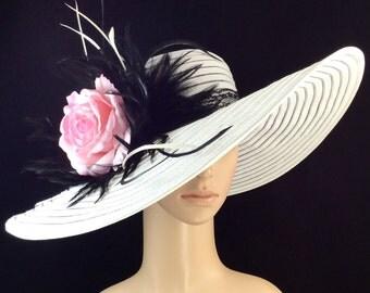 Wedding Hat Derby Hat Dress Hat Wide Brim Hat Womens Dress Wedding Tea Party Ascot Church Kentucky Derby