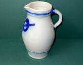 Vintage Stoneware Pitcher, French, Salt Glaze, Cobalt Blue, 1900s, creamer, jug, pitcher,