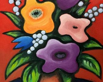 FLOWERS, Print of Valeria Barnhill's original painting 11x14 inches