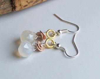 Dangle Earrings, Quartz Briolette Earrings, Mixed Metal Earrings, Cloudy Quartz Earrings, Silver Plated Earrings, Etsy