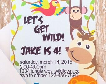 12 jungle safari birthday invitations with envelopes, jungle animal birthday invites, animal birthday party, printed birthday invitation