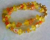 Yellow Double Strand Bracelet, Lemon Yellow Bracelet, Millefiori, Double Strand, Adjustable, Citrus, Orange, Gold Plated, Bracelet