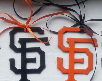 SF Giants Ornaments recycled steel orange and black pendants charms