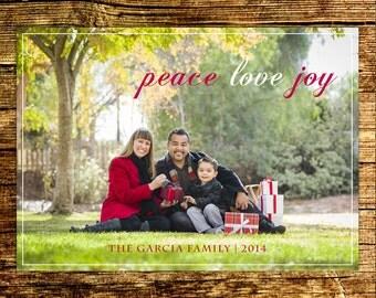 Custom Photo Christmas Card / Digital File / Christmas Card / Holiday Card / DIY Printable / Peace Love Joy Card