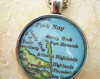 Custom Map Jewelry, Sandy Hook New Jersey Shore Beach Vintage Map Pendant Necklace, Personalize, Map Cuff Links, Groomsmen Gifts Ideas