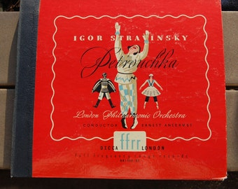 """Rare and lovely Igor Stravinsky ballet """"Petrouchka"""" on Decca London label. London Philharmonic Orchetra. Conducted by Ansermet. AK1388-92."""