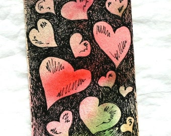 Valentine heart aceo and gift tag with ribbon, original watercolor romantic art, pen and ink, red green black, wedding anniversary art