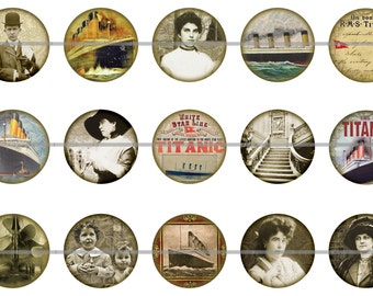 "Titanic Magnets, Titanic Pins, Titanic Badges, Titanic Cabochons, Titanic Party Favors, 1"" Inch Flat Backs, Hollow Backs, Cabochons, 12ct"