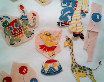 Vintage fabric circus characters
