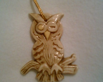 1970s handmade signed Ceramic Owl Ornament / wall hanging