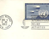 Postal History PAN AM First Non-Stop Airmail Flight New York to Buenos Aires December 5 1963 UN C3 with slogan cancel Vintage Paper Ephemera